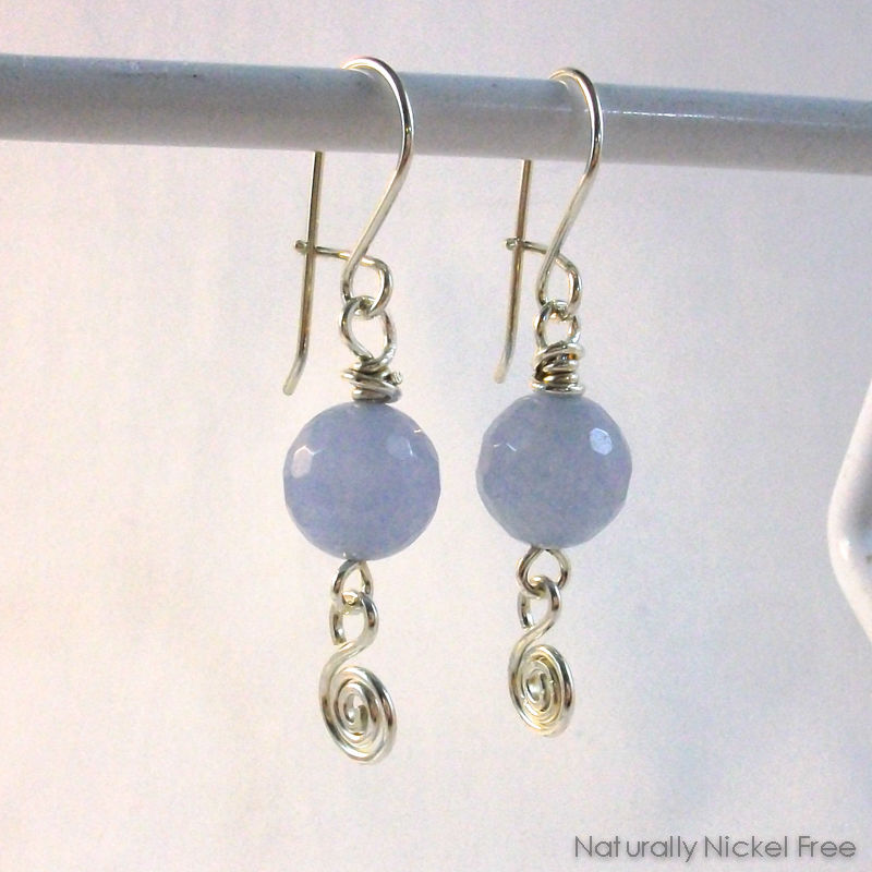 Blue Jade Argentium Sterling Silver Interchangeable Earrings - product image
