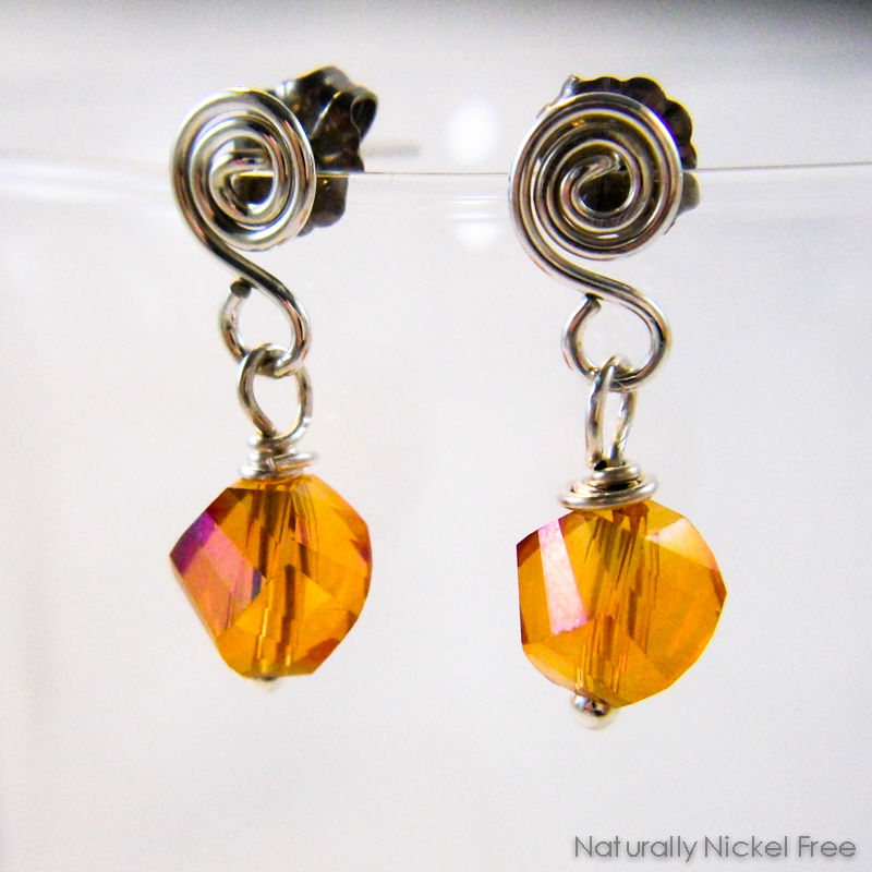 Amber Glass Helix Post Dangle Earrings - product image