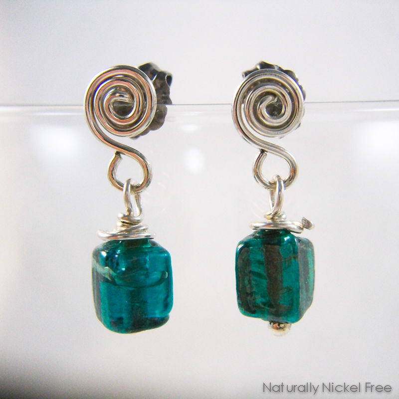 Green Glass Argentium Spiral Drop Post Earrings - product images  of