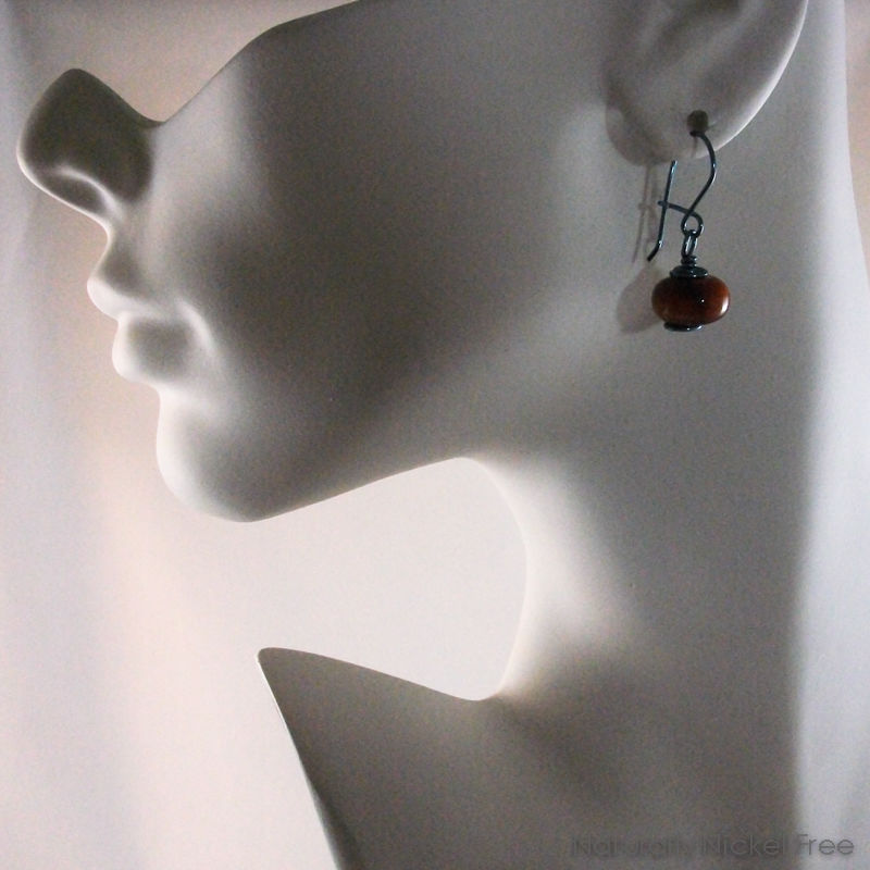Tiger Eye Niobium Loop n Latch Drop Earrings, in Blue - product images  of