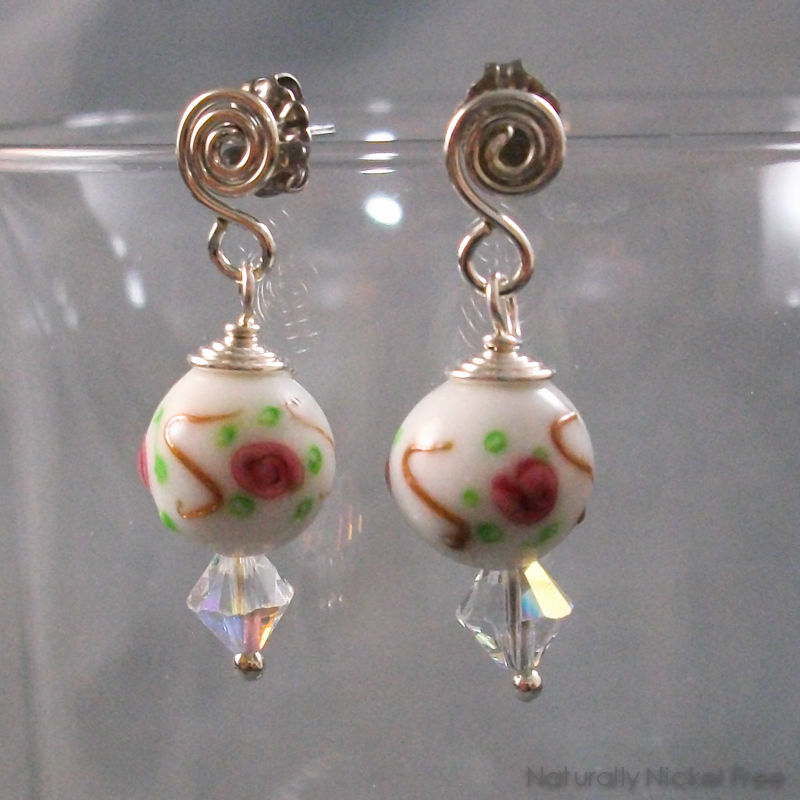 Pink Rose and Crystal Drop Bead Post Earrings - product image
