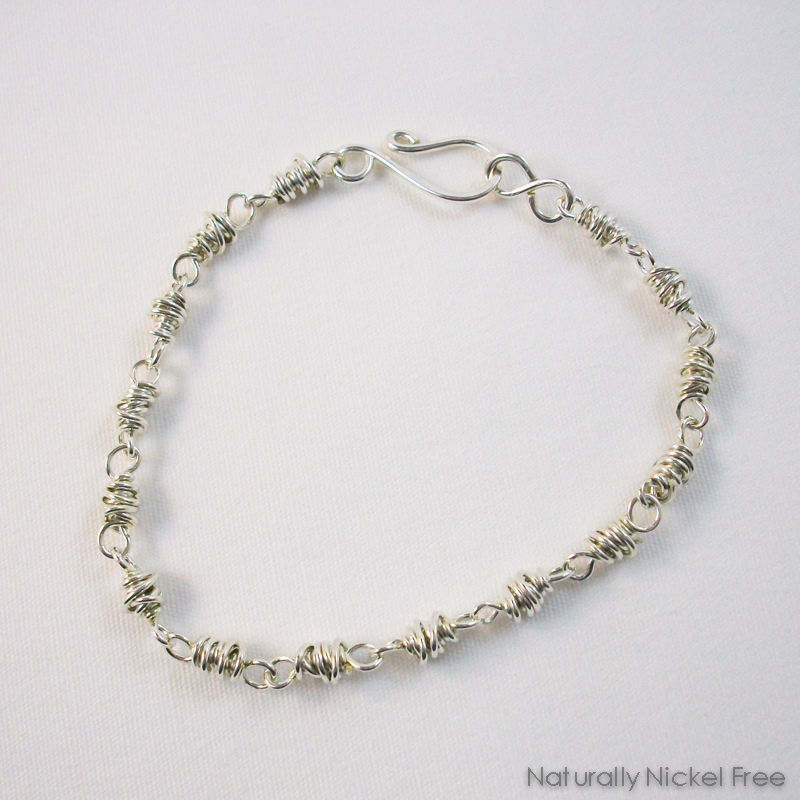 Silver Chain Bracelet in Chunky Wire Wrapped Links, 8 inch - product image