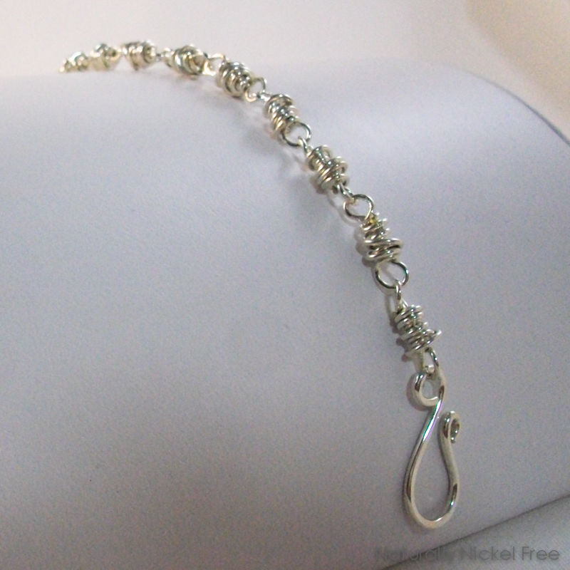 Silver Chain Bracelet in Chunky Wire Wrapped Links, 8 inch - product images  of