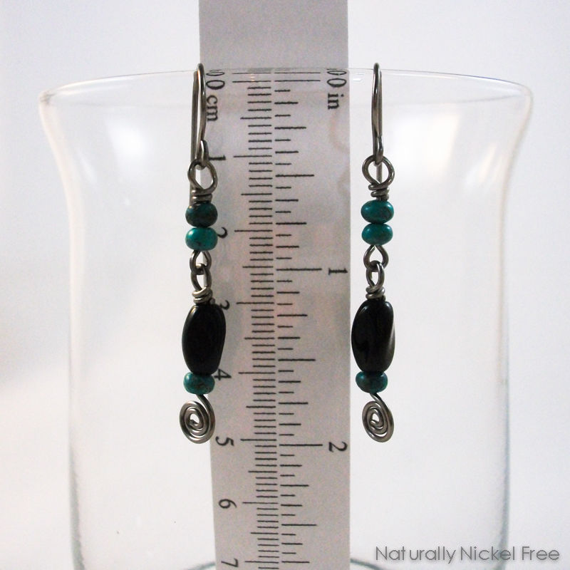 Turquoise and Black Bead Niobium Spiral Earrings - product images  of