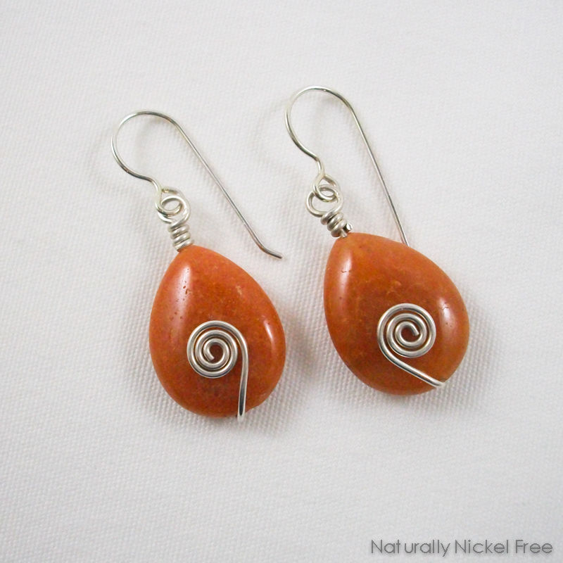 Peach Aventurine Teardrop Bead Silver Earrings - product images  of