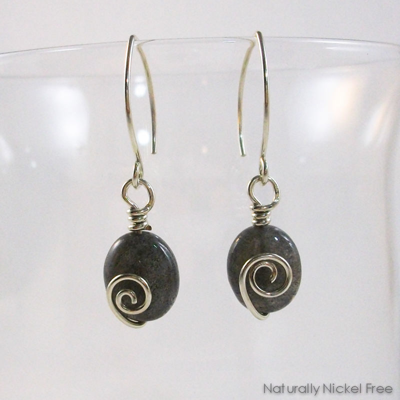 Labradorite Spiral Dangle Earrings - product images  of