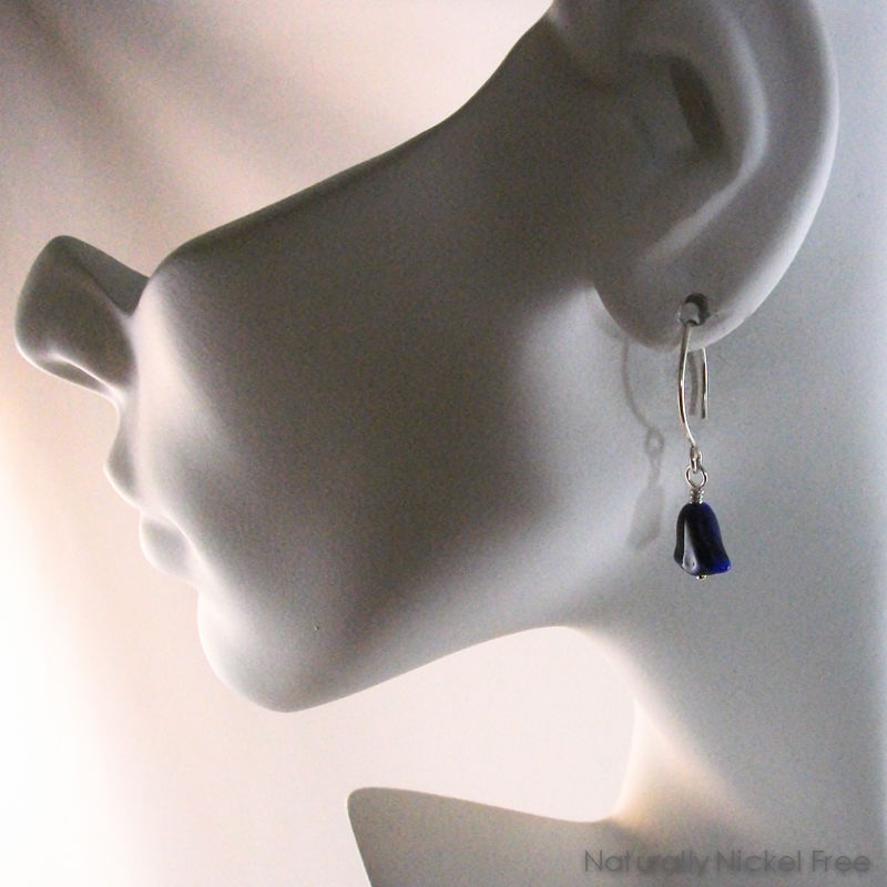 Blue Bell Flower Earrings with Argentium Marquis Earwires - product images  of