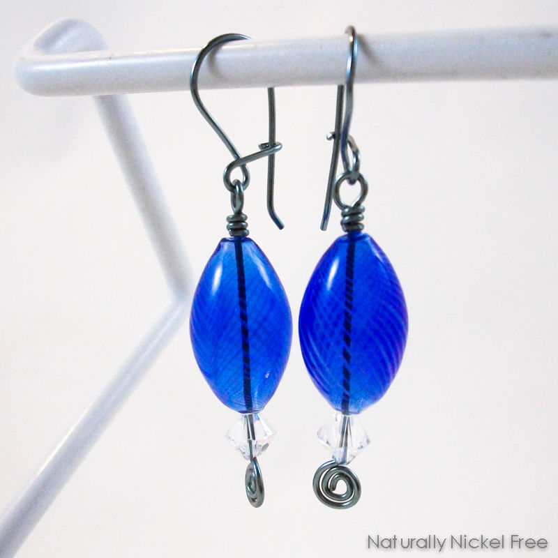Royal Blue Blown Glass Earrings with Crystal Accent - product images  of