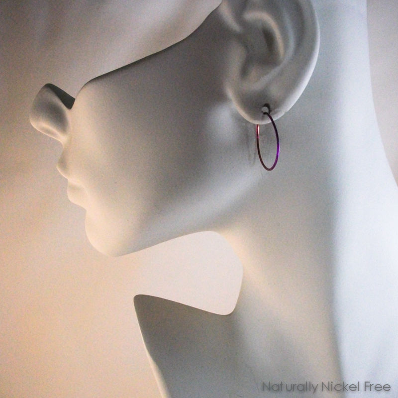 Pink-Purple Gradient Niobium Hoop Earrings, 7/8 inch - product images  of