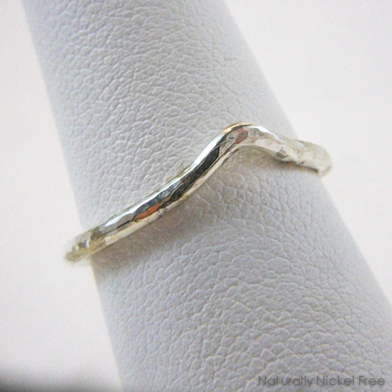 Hammered Single-Wave Silver Ring  - product images  of