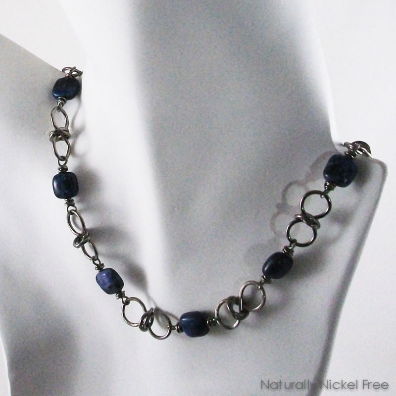 Sodalite Bead Handmade Chain Necklace & Bracelet Combo - product images  of