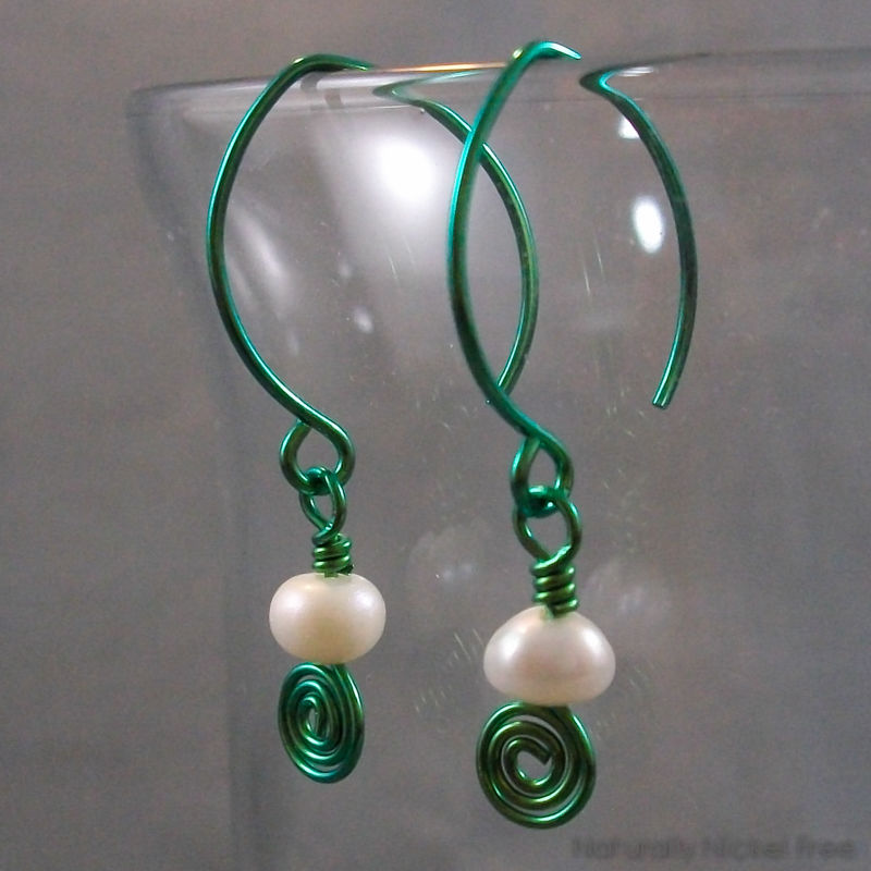 Pearl Marquis Aqua Green Niobium Earrings - product image