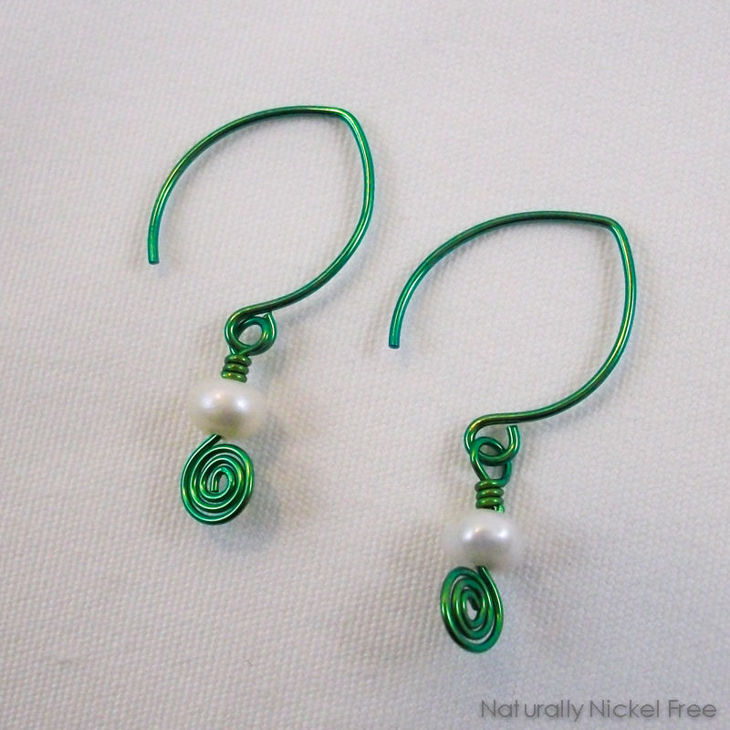 Pearl Marquis Aqua Green Niobium Earrings - product images  of
