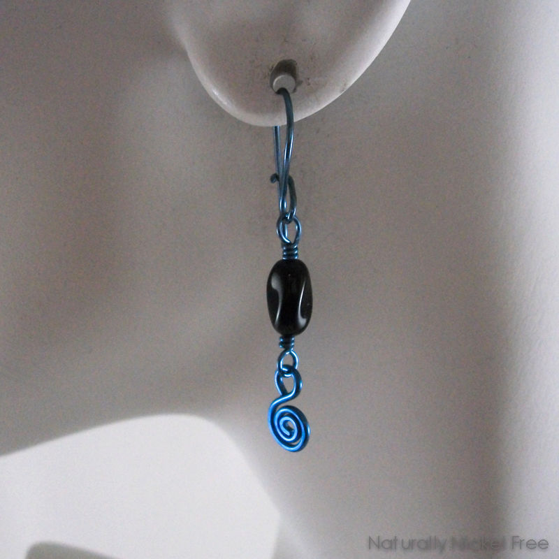 Black Bead Loop n Latch Blue Niobium Earrings - product images  of