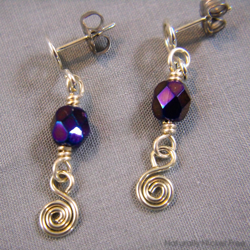 Indigo Bead Silver Post Dangle Earrings - product image