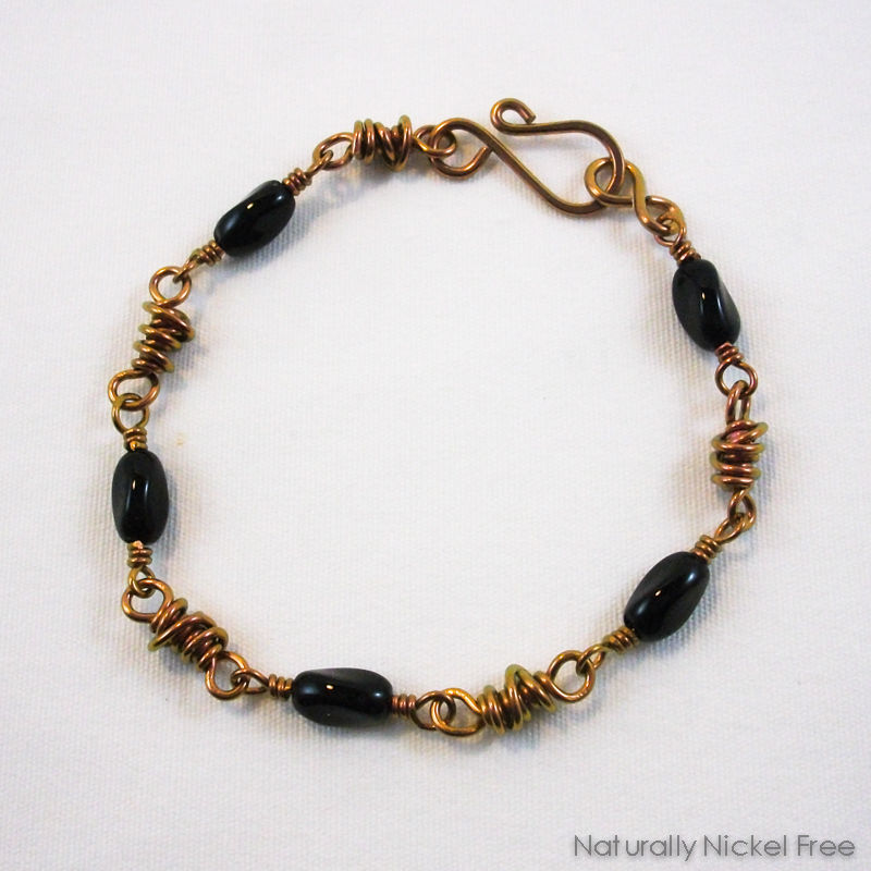 Twisted Black Bead Niobium Bracelet - product images  of