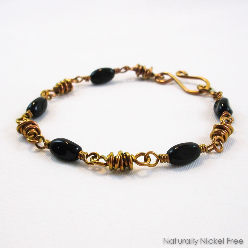 Twisted Black Bead Niobium Bracelet - product image