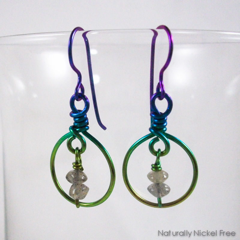 Labradorite Orbital Niobium Earrings - product images  of