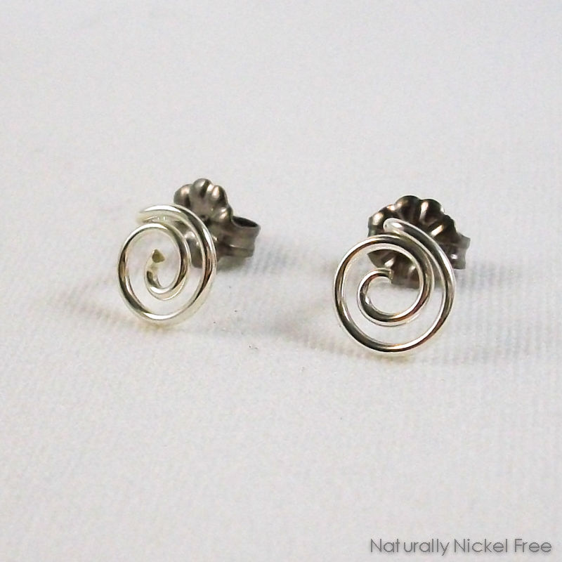 Relaxed Spiral Post Earrings in Argentium Sterling Silver - product images  of