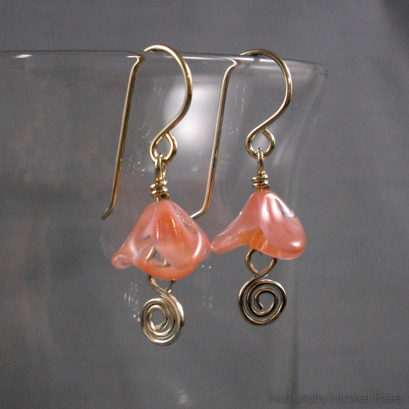 Pink Bell Flower Silver Spiral Earrings - product image