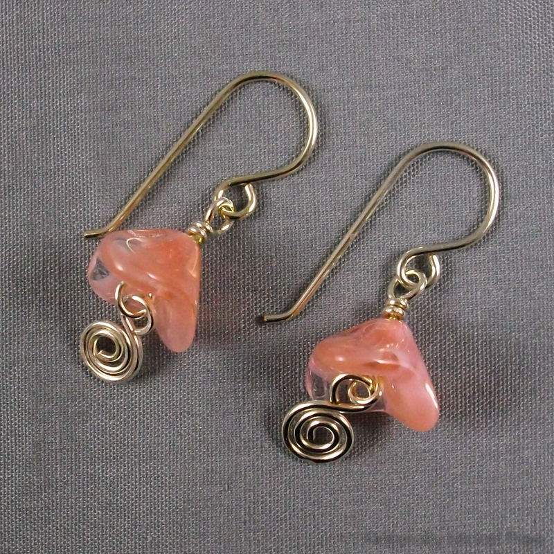 Pink Bell Flower Silver Spiral Earrings - product images  of