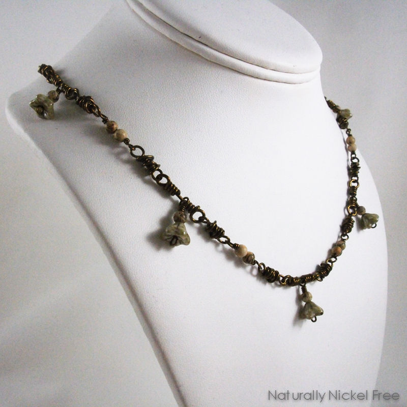 Olive Green Flower Dangle Necklace - product images  of