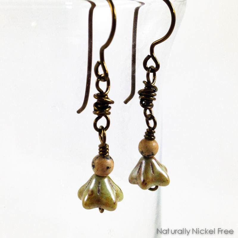 Olive Green Bell-Flower Dangle Earrings - product image