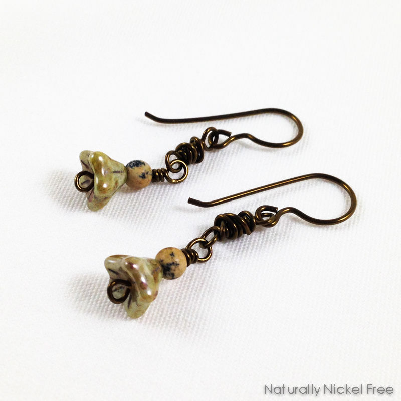Olive Green Bell-Flower Dangle Earrings - product images  of