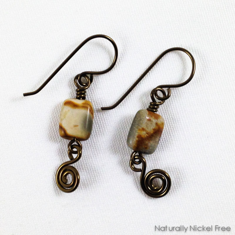 River Creek Jasper Earrings with Spiral Dangle - product image