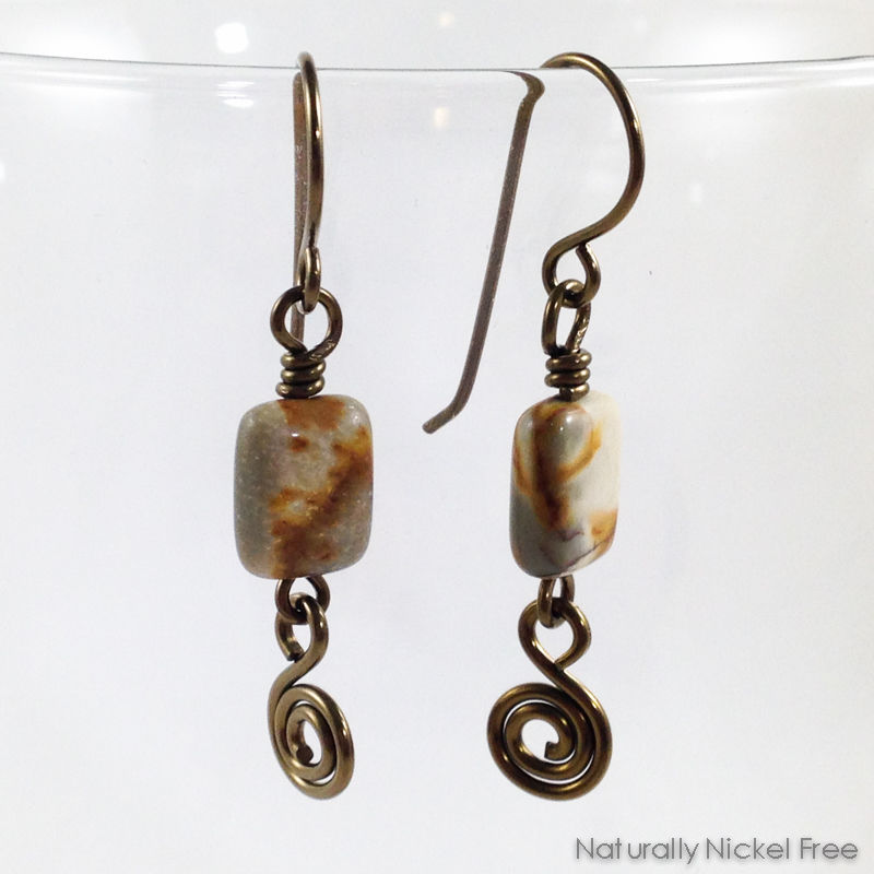River Creek Jasper Earrings with Spiral Dangle - product images  of