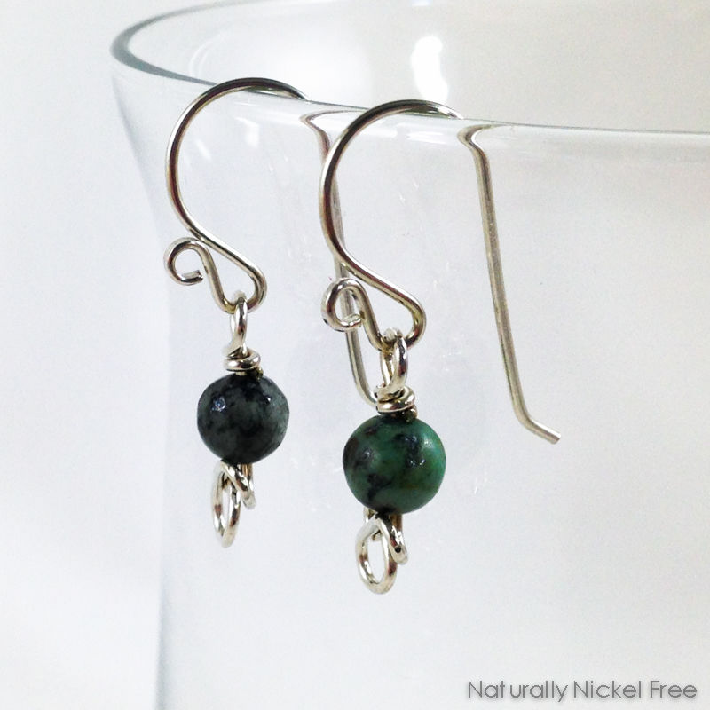African Turquoise Bead Earrings - product images  of