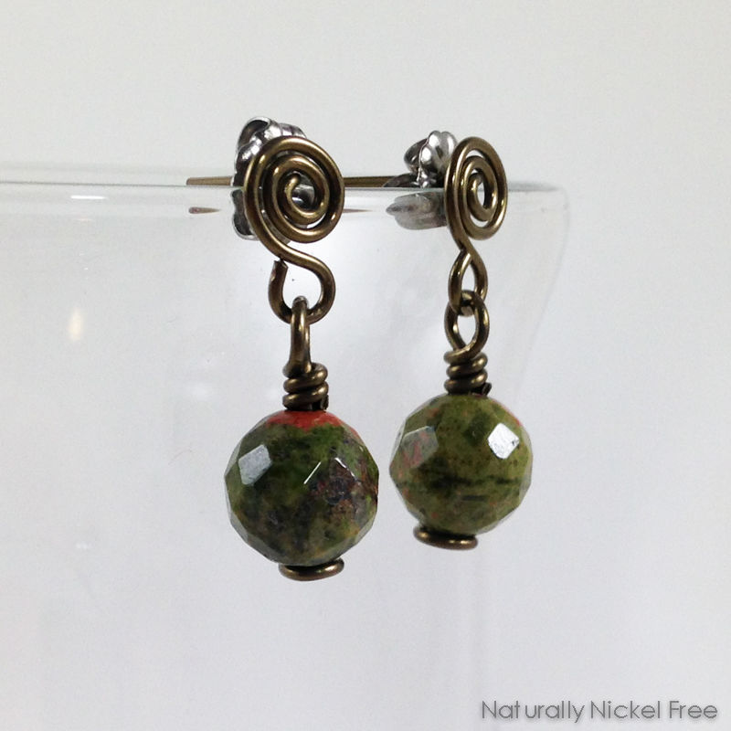 Unakite Post Dangle Earrings  - product images  of