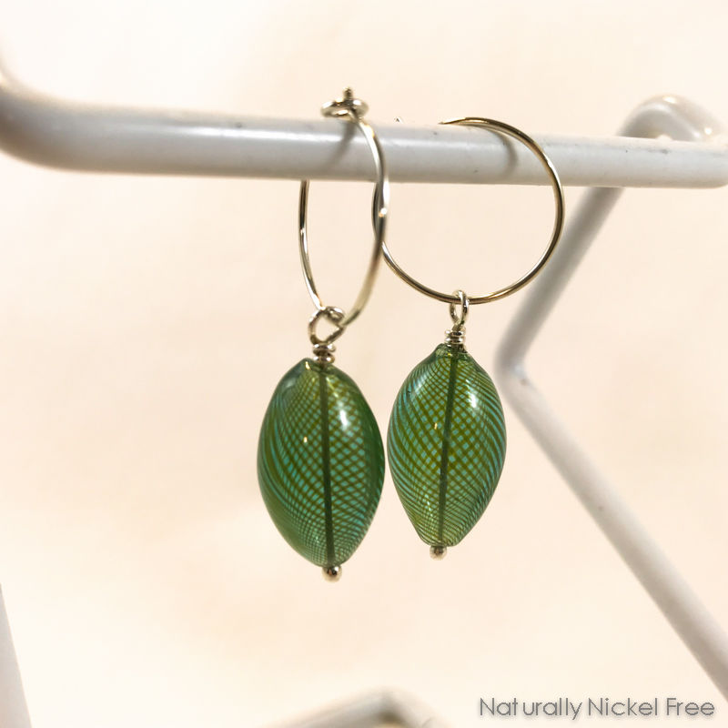 Silver Hoop Earrings with Green Blown Glass Bead Dangle - product images  of
