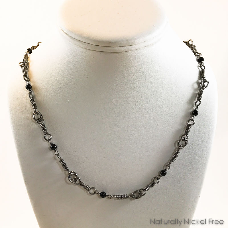 Niobium Coil Chain Necklace with Onyx Beads - product images  of