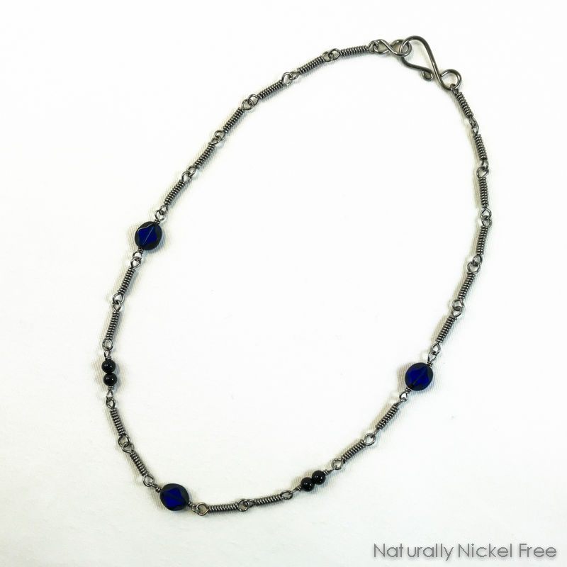 Niobium Chain Necklace with Blue Glass Beads - product images  of