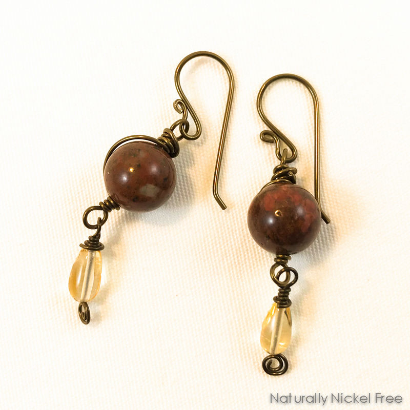 Jasper & Citrine Niobium Wire Wrapped Earrings - product image