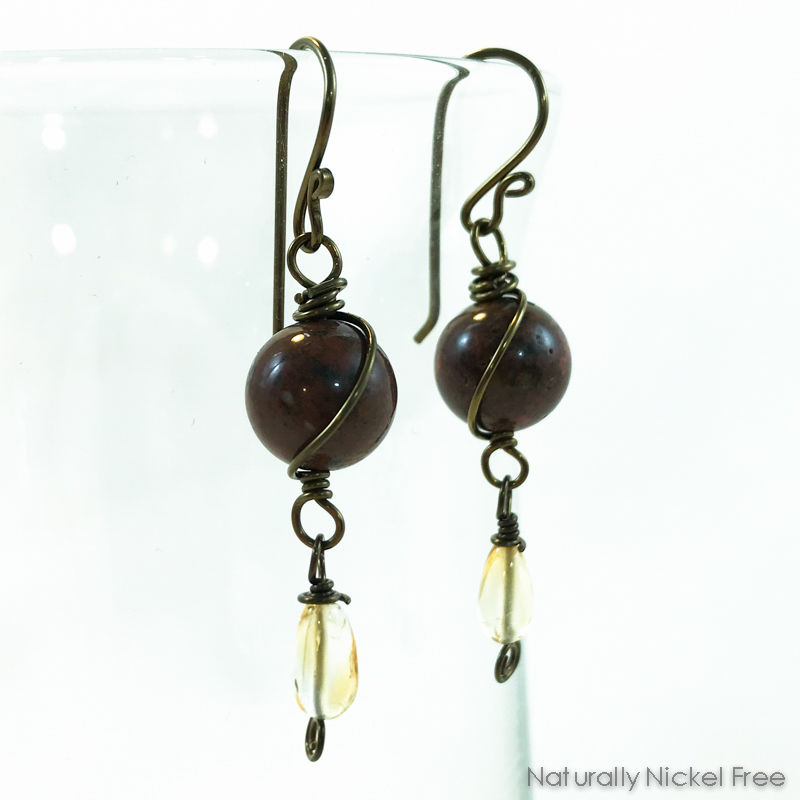 Jasper & Citrine Niobium Wire Wrapped Earrings - product images  of