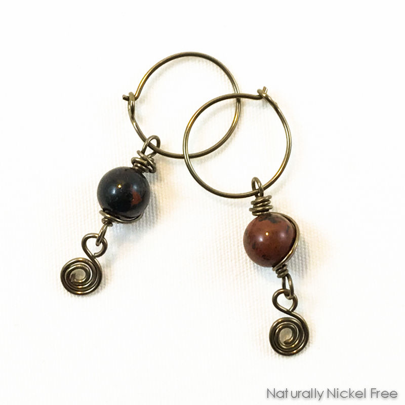 Mahogany Obsidian Spiral Niobium Hoops - product images  of