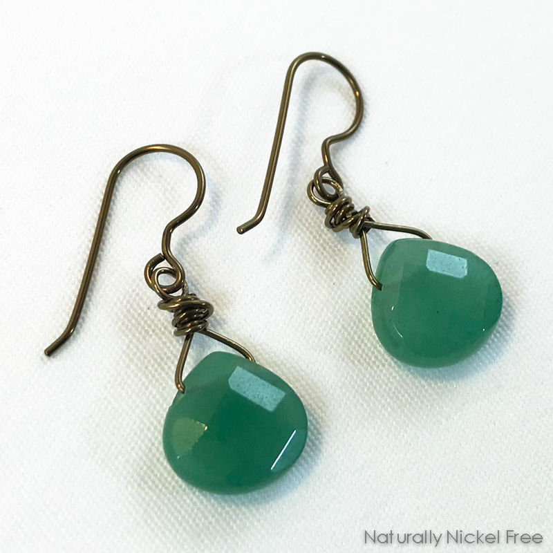 Green Aventurine Faceted Teardrop Earrings - product image