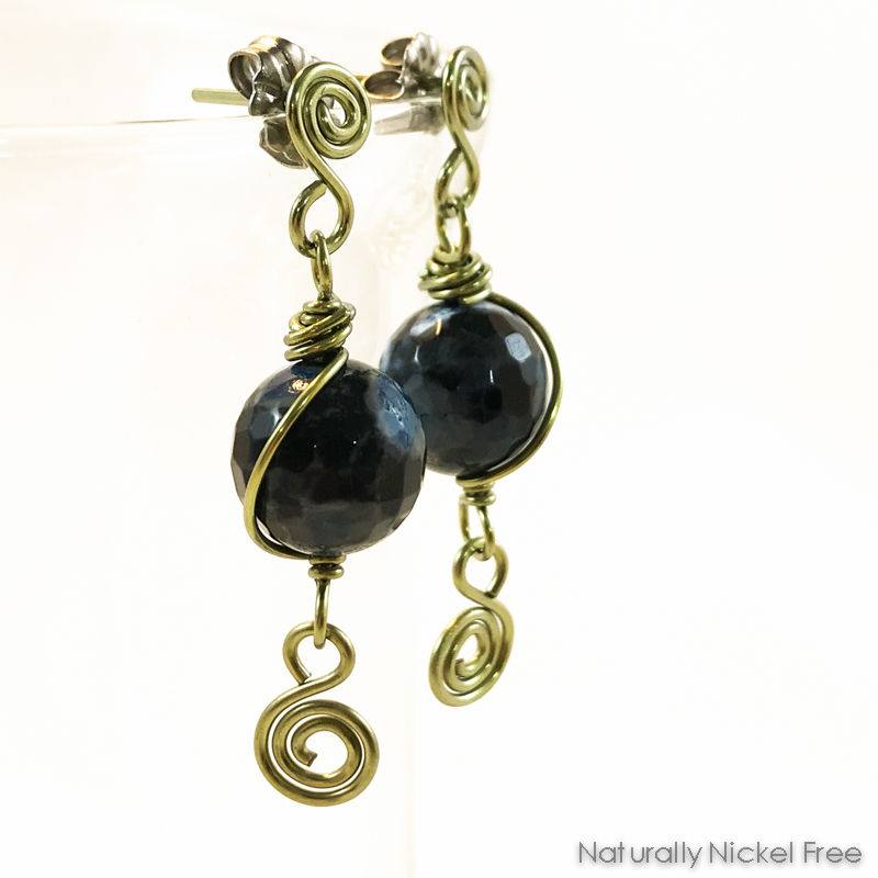 Blue Fire Agate Niobium Spiral Post Earrings - product image