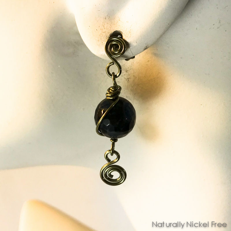Blue Fire Agate Niobium Spiral Post Earrings - product images  of