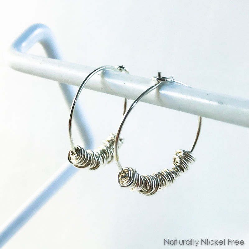 Argentium Silver Bundle Wrap Hoop Earrings - product images  of