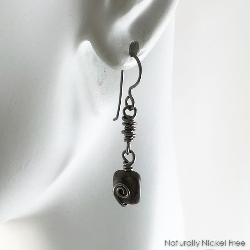 River Creek Jasper Niobium Wire Wrapped Earrings - product images  of