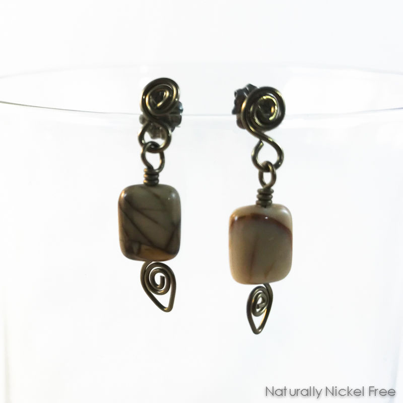 River Creek Jasper Niobium Post Earrings - product images  of