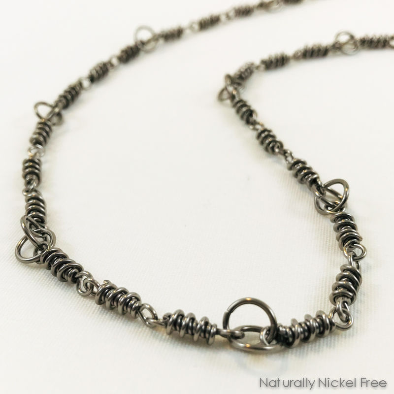 Niobium Handmade Chain Necklace with Helix Links - product images  of