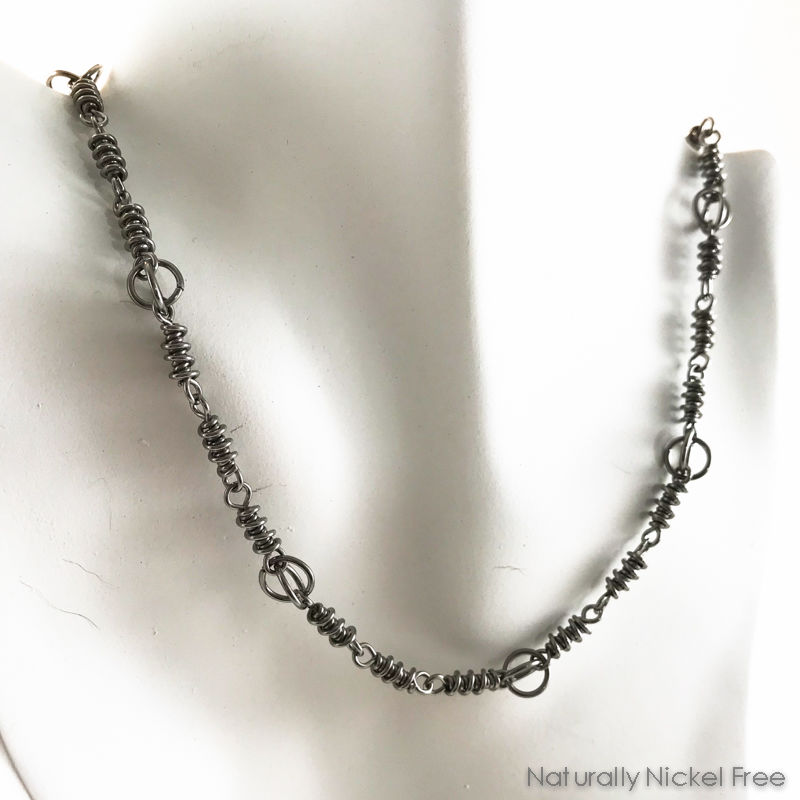 Niobium Handmade Chain Necklace with Helix Links - product image