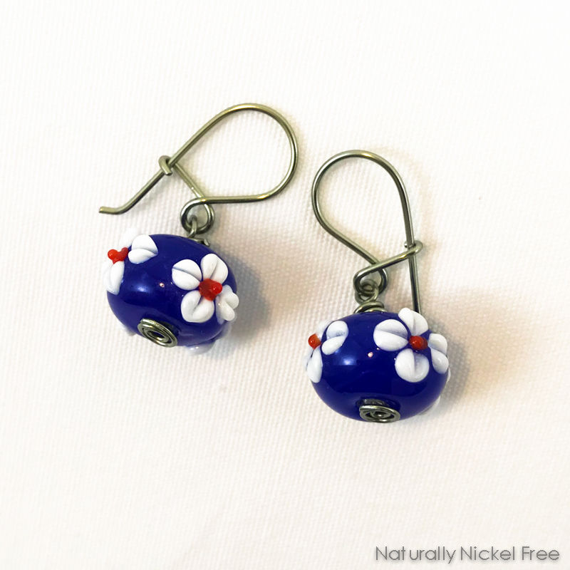 White Daisy Blue Bead Loop n Latch Earrings - product images  of