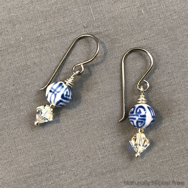 """Long Life"" Chinese Script Ceramic and Crystal Bead Earrings - product images  of"