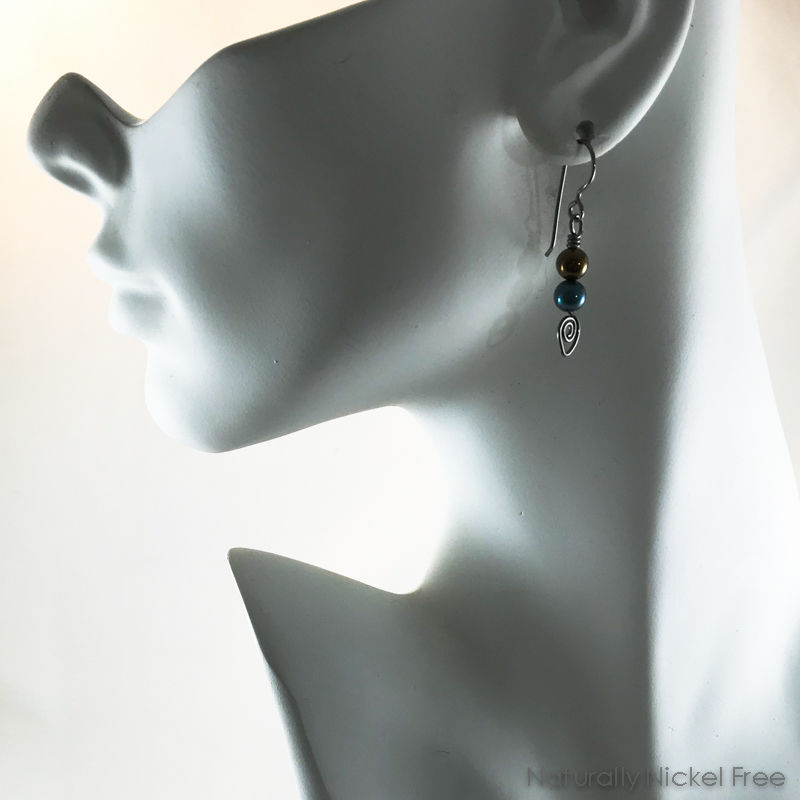 Titanium Bead Earrings in Blue and Bronze - product images  of