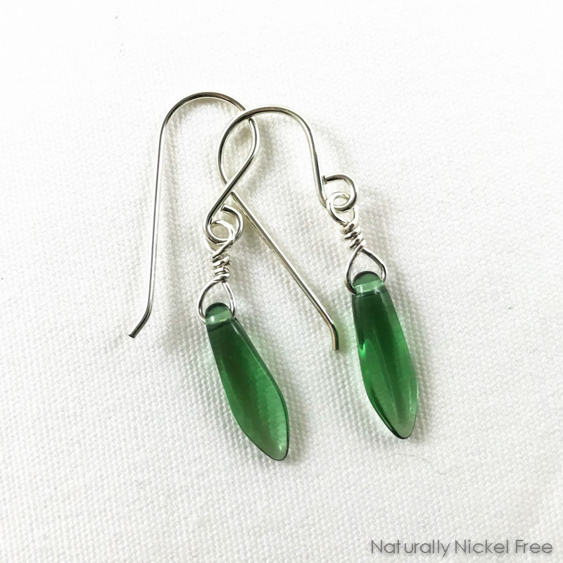 Bright Green Glass Silver Earrings - product images  of